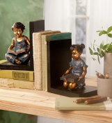 Wind & Weather Seated Children Bookends - Cast in Resin - Detailed Sculpture - Wooden Bases - 5½ L x 4¼ W x 6¾ H Inches