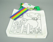 Childs Linen Colour in Bag with Felt Pens With Sheep Farm Design