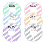 Blulu Clothing Rack Size Dividers Baby Closet Dividers Round Closet Organiser, 6 Pieces, 6 Colours