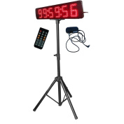 Godrelish Red Colour 13cm LED Race Timing Clock for Running Events Support Stopwatch Function IR Remote Control With Tripod