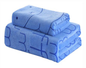 Set of 2 Lightweight Absorbent Household Bath Towels Sports Towels, Blue