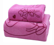 Set of 2 Lovely Lightweight Household Towels Sport Towels Bath Towels Absorbent