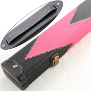 Luxury PINK & BLACK ARROW 2pc Leather Patch Effect Snooker Pool Cue Case