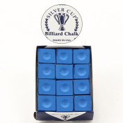 12 x SILVER CUP Snooker Pool Chalk - ROYAL BLUE