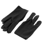 sourcingmap® Elastic Snooker Billiard Pool Cue Three Finger Gloves 2 Pairs Black