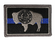 Subdued Thin Blue Line Wyoming State Flag Patch
