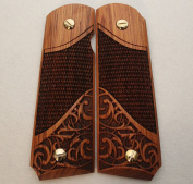 1911 Custom Grips Fits Full Size & Commander Colt, Kimber, Springfield etc. Exotic Solid Rosewood Chequered & Scroll Design FREE Grip Screws