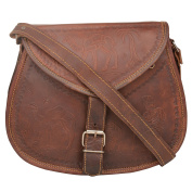 "Desert Town ""Dhola Maru"" Leather Camel Emboss Vintage Brown Handbag Cross Body Shoulder Bag Everyday Satchel City Party Weekend Festival Bag"