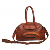 Vintage Look Brown Leather Unisex Party Office Cross Body Top Handle Baguette Shoulder Strap Tote Bag Gift Idea 43cm x 28cm