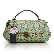 Aphison Designer Unique Embossed Floral Cowhide Leather Vintage Style Women's Handbag