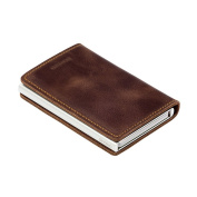 Secrid Solid Aluminium RFID Card Protector Slimline Wallet in Vintage Brown