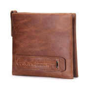 Contacts Genuine Leather Card Photo Holder Coin Clutch Purse Mens Short Wallet Brown