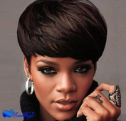 Eseewigs 100% Real Virgin Remy Human Hair Free Part Short . Wig with Bangs Brown Human Hair Celebrity Wig for Women
