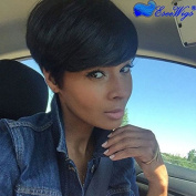 Eseewigs 100% Real Virgin Remy Human Hair Free Part Short . Wig with Bangs Natural Black Human Hair Celebrity Wig for Women