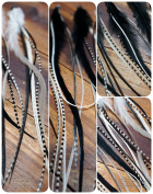 Feather Hair Extension Big Black and White Medium