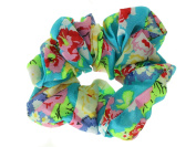 Blue Floral Print Scrunchie Hair Bobble