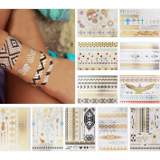 11 Sheets Flash Jewellery Tattoo Sticker Temporary Body Art Decal for Beauty Women Makeup Paper Pineapple Skull