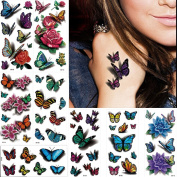 8 Sheets 3D Temporary Tattoo Sticker Butterfly Flower Design Body Chest Hand Art Decal Removable