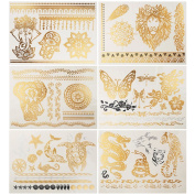 6 Pieces Flash Metallic Gold Temporary Tattoo Sticker Body Art Jewellery Decal Elephant Dragon Tiger