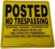 Heavy Gauge .032 Self Supporting Aluminium Posted No Trespassing Sign 30cm x 30cm