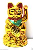 Feng Shui GOLD BECKONING CAT Wealth Lucky Waving Kitty Maneki Neko 10cm Tall