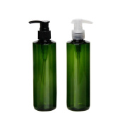 300ml/8.3OZ Refillable Empty Green Pump Bottles Jars with Pump Tops for Makeup Cosmetic Bath Shower Toiletries Liquid Containers Leak Proof Portable Travel Accessories Pack of 2