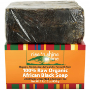 (470ml) Raw African Black Soap with Coconut Oil and Shea Butter - Body Wash, Shampoo and Face Wash - Helps Clear Dry Skin, Acne, Eczema, Psoriasis - Authentic Organic Homemade Soap Bar from Ghana
