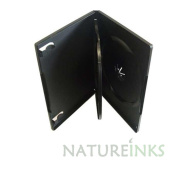 Natureinks 10 x 3 Way Triple CD DVD Blu ray Storage Case Cases Flip Tray clear outer cover 14mm spine