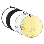 "110cm (43"") 5-in-1 Collapsible Professional Photography Portable Photo Studio Circular Light Reflector Panels - Gold, Silver, Black, White & Translucent , Light Reflector for Studio or any Photography Situation AF018"