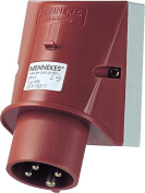 Mennekes 101200039 Pegs Wall-Mounted, Outlets CEE, 400 V, 50 - 60 Hz, 16 A, 4-pole, IP 44, 10 package, Red