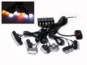 White and Amber 8 Pce Grill Mount LED Emergency Flashing Light Set for Cars Vans Trucks Lorries