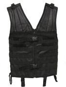Ultimate Arms Gear Stealth Black MOLLE SWAT Military Hunting Tactical Deluxe Web Modular Field Combat Lightweight Pouch Platform PALS Vest Features Rescue Drag Handle, Shoulder D-Rings , Duty Belt Straps, And Shooters Pads On Both Shoulders
