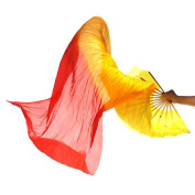 Generic Hand Made Colourful Silk Bamboo Flame Belly Dance Dancing Long Folding Fans Veils