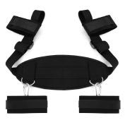 Restraint Kit,MELO Extra-Strength Bondage Strips Set with Neck Pad Ankle/Wrist Cuff, Black