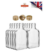 10 pocket flask bottles 100ml with GOLD screw caps for wine, whisky or spirits