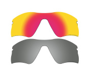 2 Pairs Polarised Replacement Lenses Red & Black Mirror for Oakley Radar Range Sunglasses