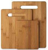 Absolute Bamboo 3 Piece Bamboo Cutting Board Set, For Meat & Veggie Prep, Serve Bread, Crackers & Cheese, Cocktail Bar Board
