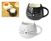 DSstyles Set of 2 420ml Cat Coffee Mug Cat Coffee Cup Cuples Mugs Milk Cup for Cat Lover - Black and White