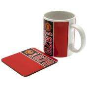 Manchester United F.c. Mug And Coaster Set 330ml Ceramic Mug Single Coaster In Acetate Box
