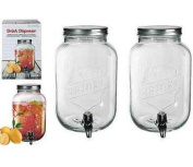 2 x Glass Drink Dispenser For Flavoured Water Juice Party Punch Jar + Tap 3.5ltr