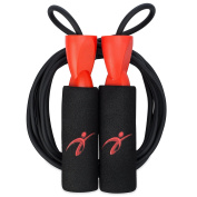 Adjustable Jump Rope with Carrying Pouch by Fitness Factor | Ergonomic, Durable, and Easy to Adjust | Premium Jump Rope for Men, Women, and Children of All Heights and Skill Levels