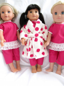 Fluffy pink spot dressing gown and pyjamas to fit 46cm dolls like Designafriend; Sindy and Our Generation