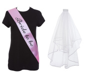 HEN PARTY PACKAGE FOR BRIDE TO BE HEN NIGHT NOVELTY FUN WEDDING VEIL WHITE SASH FANCY DRESS ACCESSORIES