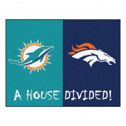 FANMATS 19673 NFL - Dolphins - Broncos House Divided Rug, Team Colour, 90cm x 110cm