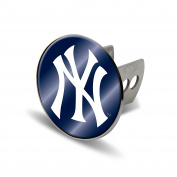 MLB New York Yankees Laser Cut Metal Hitch Cover, Large, Silver