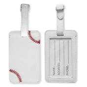 Baseball Luggage Tag - Textured Baseball Bag Tag with Red Stitches