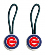 Chicago Cubs Zipper Sports Collegiate Team Logo Pull Charm Tag Luggage Pet Id Set