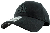 Los Angeles Dodgers Hat MLB Authentic '47 (Forty Seven) Brand MVP Adjustable Black on Black Baseball Cap Hook and loop Adult One Size Men & Women 85% Acrylic 15% Wool