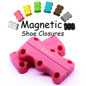 Magnetic Shoe Closures with 1 Pairs Shoe Anchors and 1Pair Shoe Laces Help You to Wear Your Sneakers Without Tying and Knots, 1 Pair