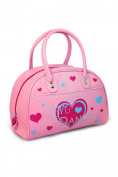 Girls Retro Bowling Bag with Love Dance Heart Design Pink Roch Valley